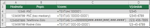 Špeciálne formáty pre funkciu TEXT