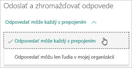 Výber používateľov, ktorí môžu odpovedať na formulár