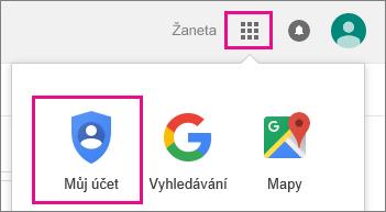 Vyberte položku Google Apps apotom položku Môj účet