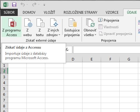 Importovanie údajov z Accessu