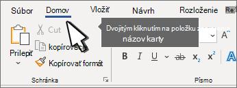 Dvojitým kliknutím na položku v blízkosti zarážky tabulátora alebo rozbalením pása s nástrojmi