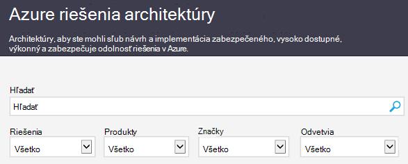Azure architektúru riešenia lokality