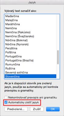 Nastavenie Automaticky zistiť jazyk vOutlooku 2016 pre Mac