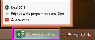 panel úloh s ikonou excelového zošita
