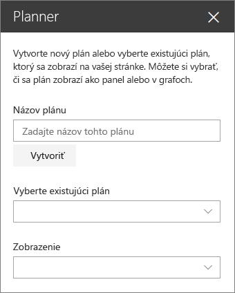 Plánovač webovej časti panela s nástrojmi