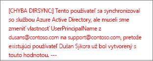 Podrobnosti o chybe pri synchronizácii adresárov používateľa