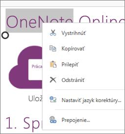 Kontextová ponuka vo OneNote Online vdotykovom zariadení