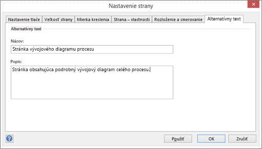 Dialógové okno Alternatívny text pre stranu vo Visiu.