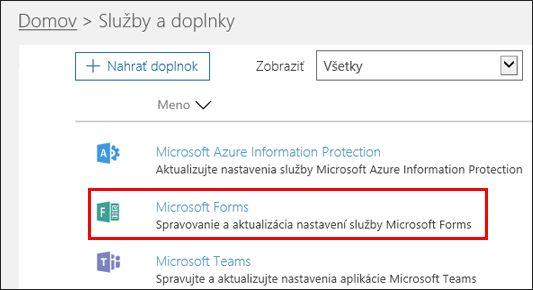 Nastavenia správcu pre Microsoft Forms