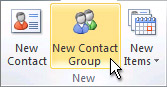 Príkaz Nová skupina kontaktov na páse snástrojmi