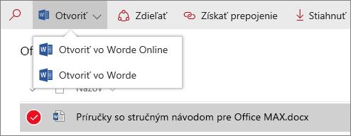Snímka obrazovky sponukou Otvoriť vknižnici dokumentov snovými funkciami.