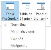 Vponuke Tabla Priečinok je vybratá možnosť Normálna.