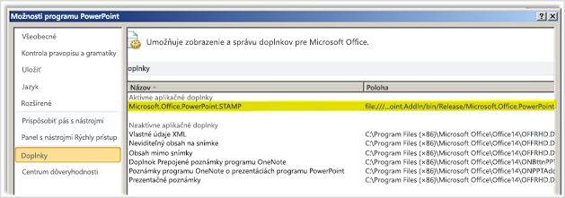 Možnosti programu PowerPoint, obrazovka doplnkov so zvýrazneným doplnkom STAMP