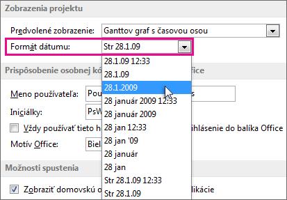 Zoznam Formát dátumu v dialógovom okne Project – možnosti
