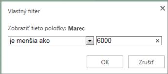 používanie vlastného filtra na zobrazenie hodnôt spĺňajúcich určité kritériá