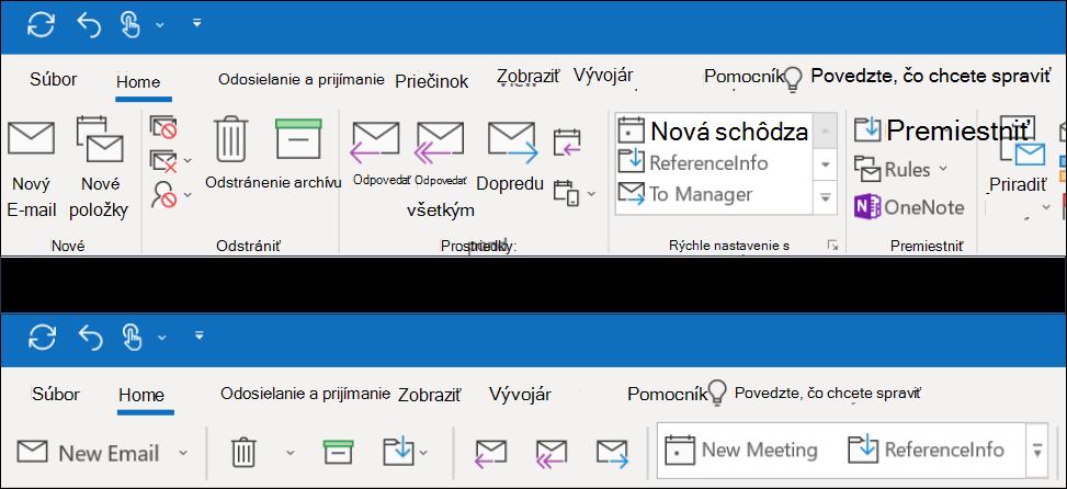 Teraz si môžete vybrať z dvoch rôznych skúseností s pásom s nástrojmi v Outlooku.