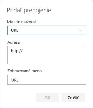 Pridanie URL prepojenia do ľavej navigácie tímovej lokality SharePoint