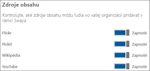 Snímka obrazovky: Včasti Zdroje obsahu zapnite alebo vypnite prepínače pre rôzne zdroje obsahu.