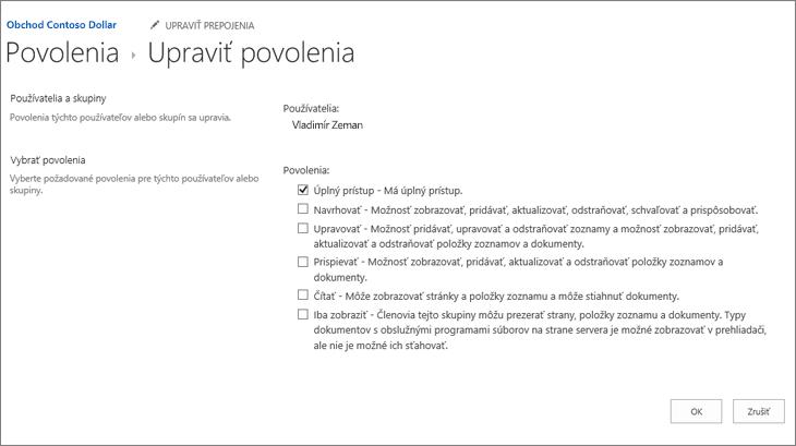 Zmena úrovní povolení vdialógovom okne povolení