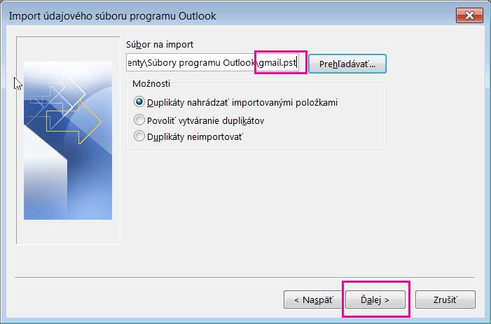 Vyberte pst súbor, ktorý ste vytvorili, aby ste ho mohli importovať.
