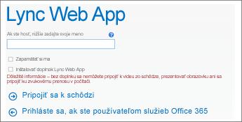 snímka obrazovky stránky pripojenia k schôdzi pre prihlásenie sa ako hosť