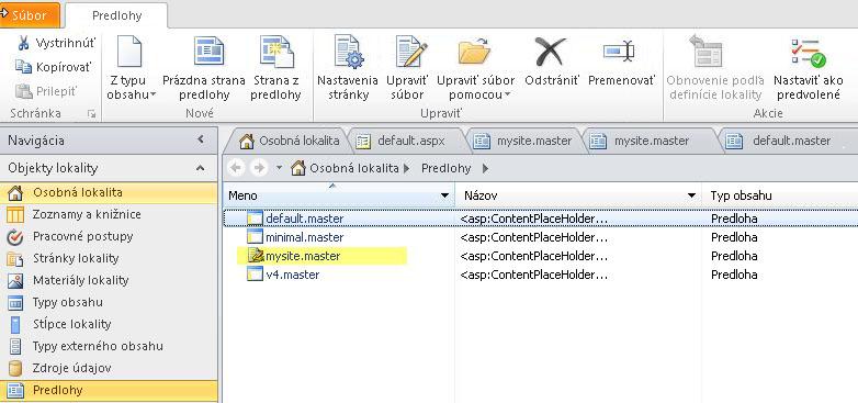 Zoznam predlôh v SharePointe 2010.