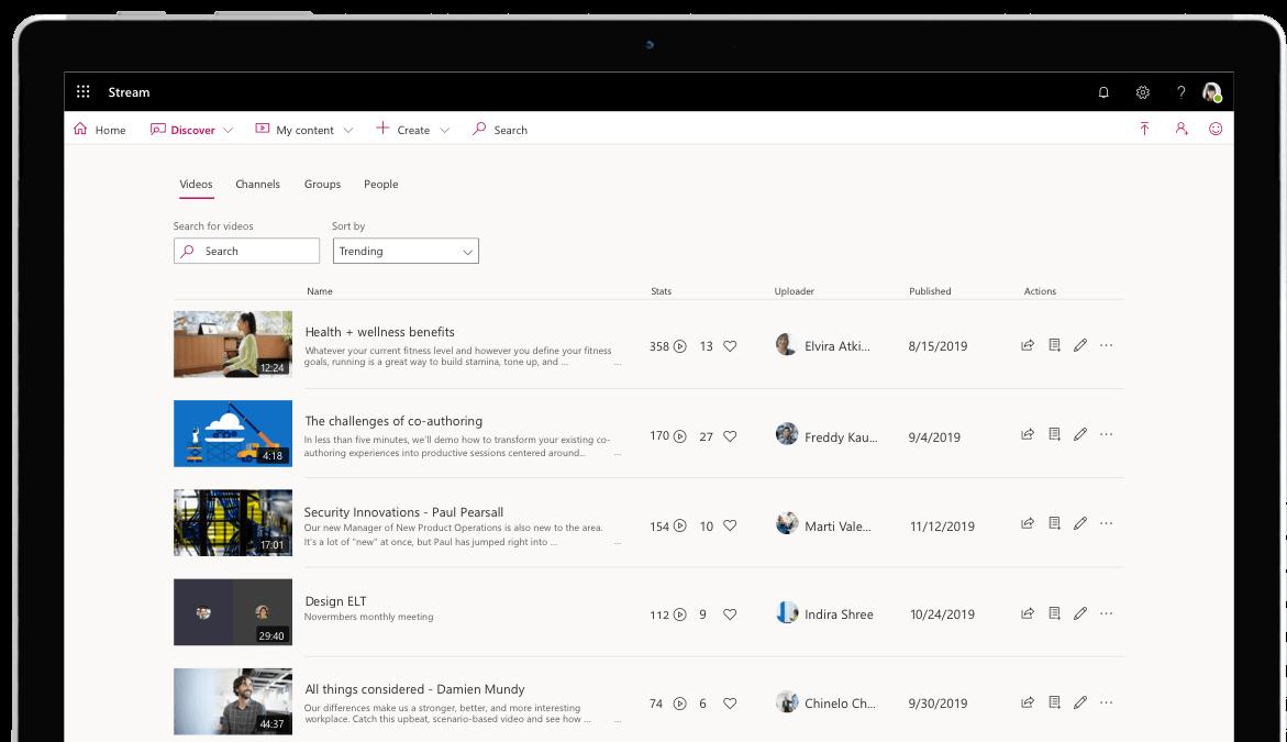 Prehľadávanie obsahu Streamu vponuke Zisťovať