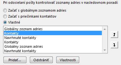 Pomocou šípok môžete definovať poradie, vakom bude Outlook pristupovať kadresárom.