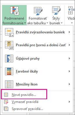 Tlačidlo Podmienené formátovanie na karte Domov