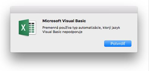 Chyba jazyka Microsoft Visual Basic: Premenná používa typ automatizácie, ktorý jazyk Visual Basic nepodporuje.