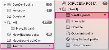 Súbežné zobrazenie zoznamov priečinkov v Exchangei a Gmaile so zvýrazneným priečinkom Archív