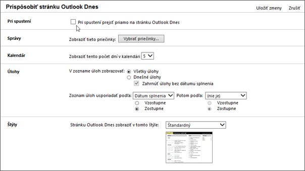 """Snímka obrazovky tably Prispôsobenie programu Outlook dnes v programe Outlook, zobrazujúca možnosti k dispozícii pri spustení, správy, kalendár, úlohy a štýly. Kurzor ukazuje na začiarknutie políčka """"Pri spustení, prejdite priamo do programu Outlook dnes""""."""