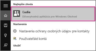 Zadajte text Ľudia vo Windowse 10