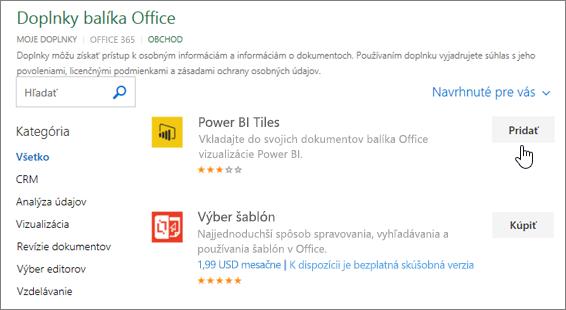 Snímka obrazovky s stránke doplnkov balíka Office, kde môžete vybrať alebo vyhľadať add-in pre Excel.