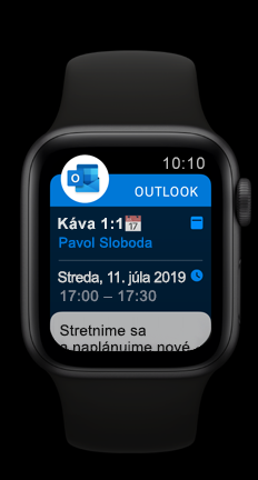 Apple Watch zobrazujúci plánovanú činnosť v kalendári v Outlooku