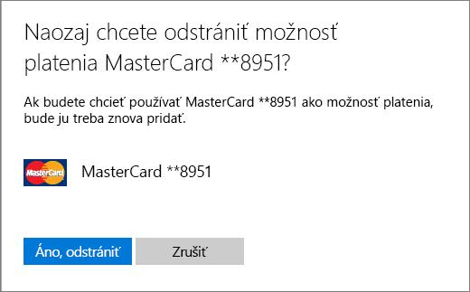 Overovacia stránka určená na odstránenie kreditnej karty.