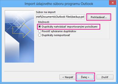 Vyberte súbor .pst, ktorý chcete importovať.