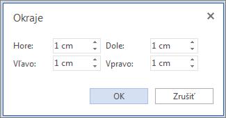 Obrázok dialógového okna programu Word Web App okrajov