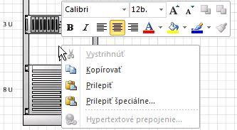 Prilepenie kopírovaného tvaru kliknutím pravého tlačidla na miesto označené kliknutím.