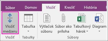 Snímka obrazovky s tlačidlom Vložiť medzeru vo OneNote 2016.
