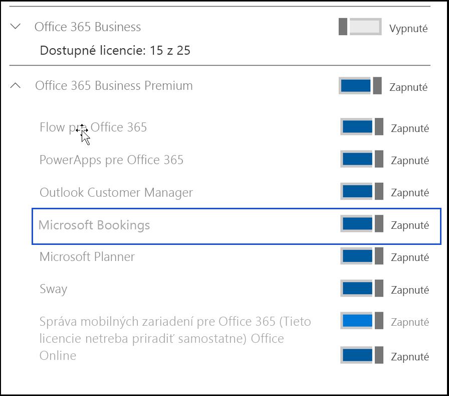 Snímka obrazovky , ktorá zobrazuje, že služba Microsoft Bookings je vproduktových licenciách používateľa vypnutá.