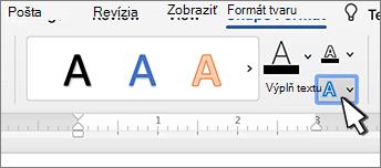 Tlačidlo efekty textu v objekte WordArt