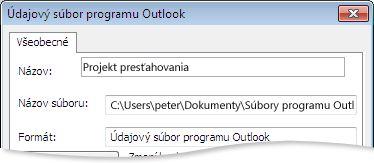 Dialógové okno Údajový súbor programu Outlook