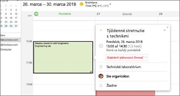 Opakovaná schôdza na ľavej strane a všetky súvisiace informácie zobrazené na karte udalosti