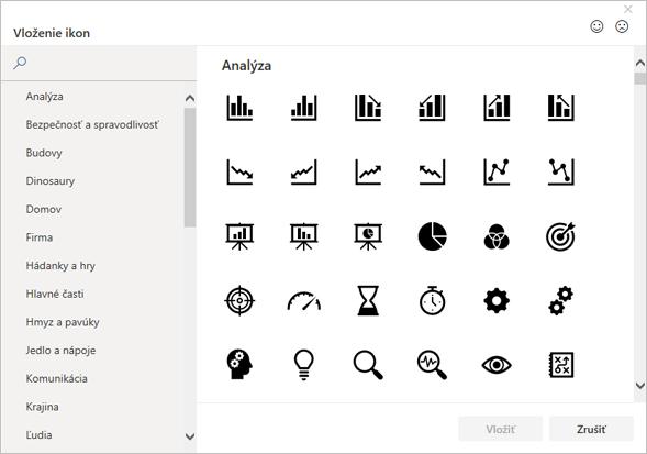 Ikonu, ktorá sa má vložiť, môžete vybrať zknižnice ikon vbalíku Office.