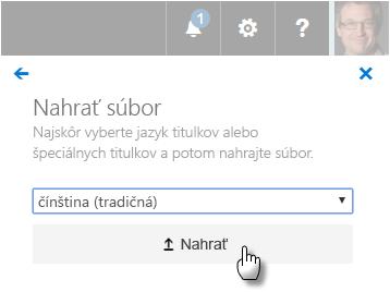 Používateľské rozhranie nahrávania súborov webvtt