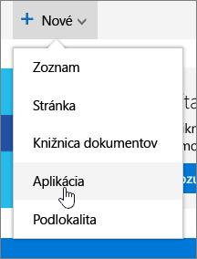 Ponuka Nové na stránke Obsah lokality so zvýraznenou položkou Aplikácia