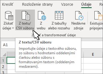 Výber textu alebo CSV na karte Údaje