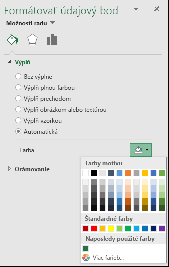 Možnosti farieb kartogramu vExceli pre grafy skategóriami