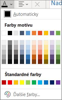 Snímka obrazovky smožnosťou farby písma vponuke Domov.